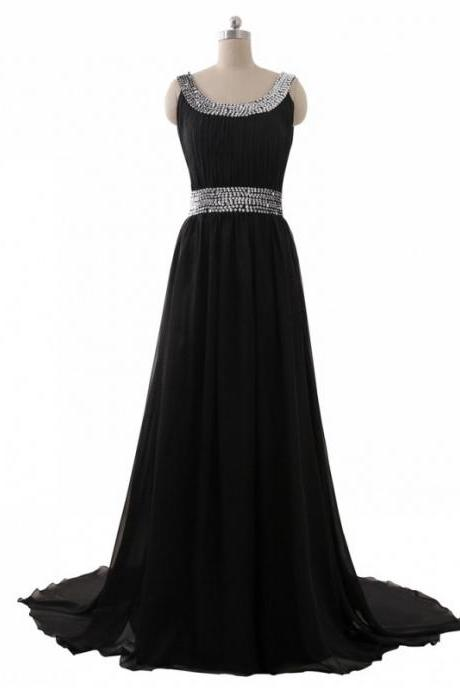 Sexy Beaded Black Prom Dresses Floor Length Scoop Neckl Long Chiffon A Line Evening Gowns