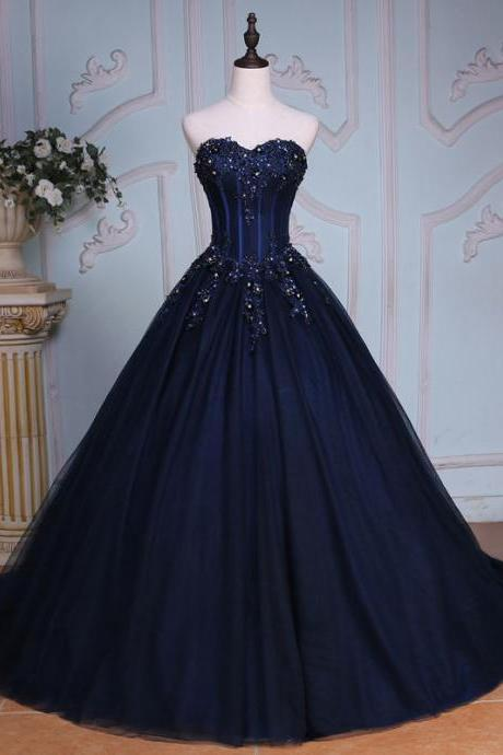 Navy Blue Floor Length Lace Applique Tulle Prom Dresses Featuring Lace-up Back Ball Gown Long Elegant Evening Formal Gowns