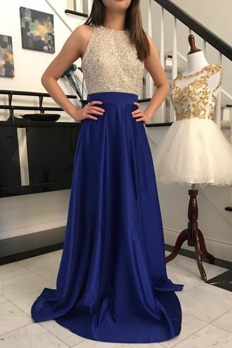 Royal Blue Long Beaded Satin Prom Dresses Featuring Open Back A Line Long Elegant Evening Formal Gowns