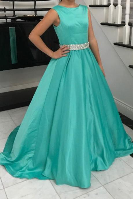 Turquoise Floor Length Beaded Satin Prom Dresses Featuring Zipper Ball Gown Long Elegant Evening Formal Gowns