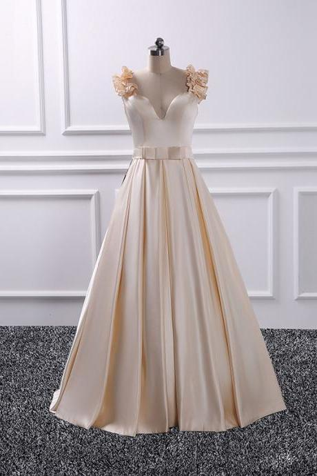 New Champagne Prom Dresses Long Elegant Satin Floral Evening Gowns - Formal Dresses, Party Dress