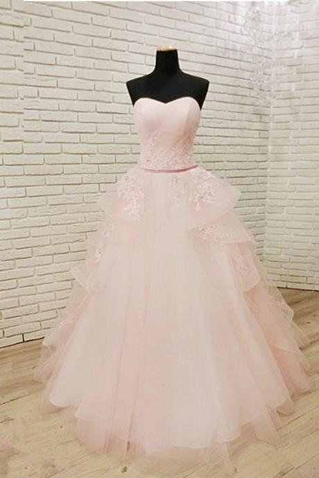 Pink Tulle Long Quinceanera Gown Featuring Sweetheart Neckline, Floor Length Lace Applique Prom Dresses