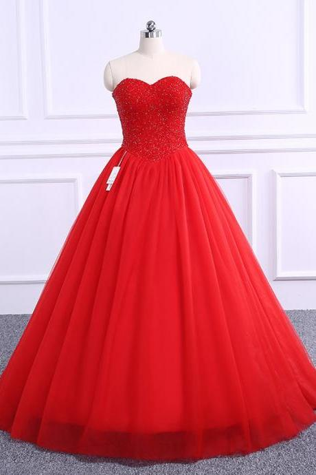 Sparkly Tulle Red Beaded Ball Gown Prom Gowns, Red Prom Dresses,Ball Gown Prom Dresses 2018