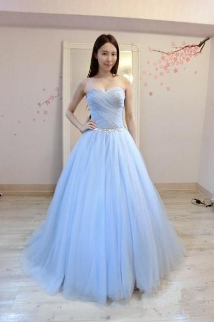 Light Blue Tulle Beaded Ball Gown Prom Gowns, Strapless Prom Dresses,Ball Gown Prom Dresses 2018