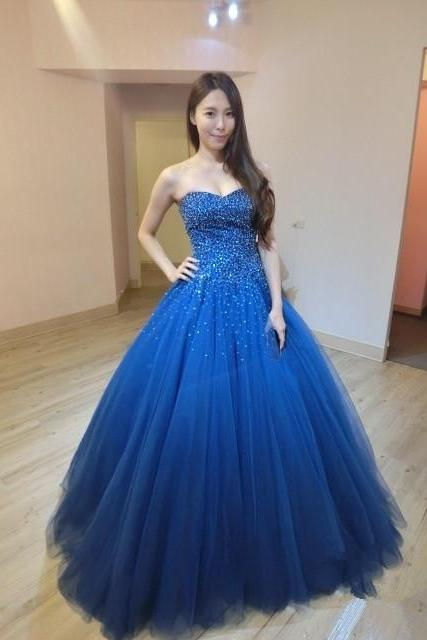 Long Royal Blue Tulle Beaded Ball Gown Prom Gowns, Floor Length Strapless Sweetheart Prom Dresses,Ball Gown Prom Dresses 2018