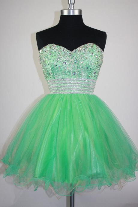 Amazing Green Homecoming Dresses Organza Strapless Short Prom Gowns With Beaded Belt--Mini Dresses,Short Party Dresses