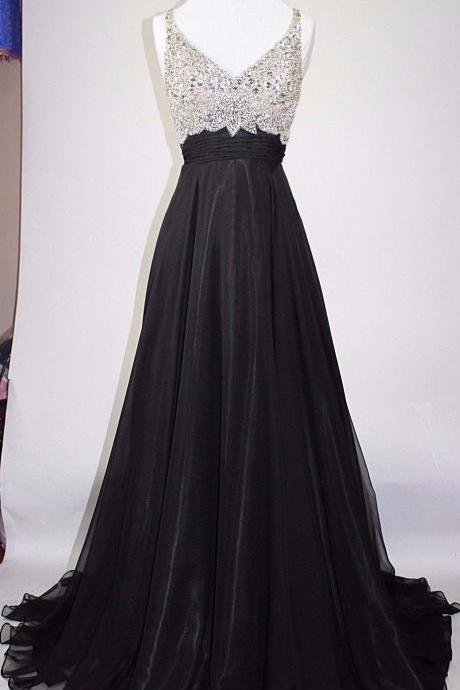2018 Black Prom Dresses Long Elegant Backless Beaded Evening Gowns - Formal Dresses, Party Dress