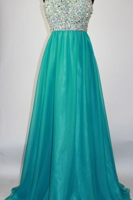New Teal Prom Dresses Long Elegant Strapless Beaded Evening Gowns - Formal Dresses, Party Dress
