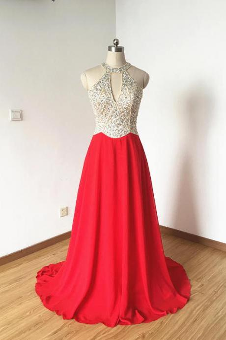 Long Red Chiffon Prom Dresses Featuring Halter Neckline ,Floor Length Beaded Evening Dresses Formal Gowns