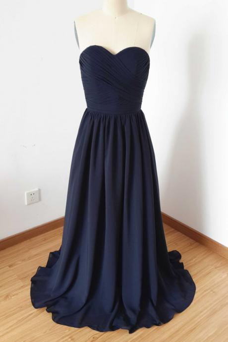 Sexy Navy Blue Chiffon Bridesmaid Dresses, Elegant Long Sweetheart Formal Dresses, Wedding Party dresses,2018 Evening Gowns