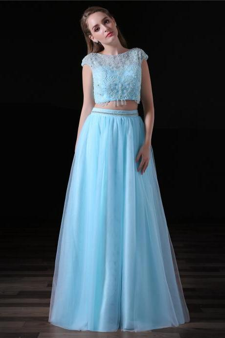 Light Blue Floor Length Beaded Tulle Prom Dresses Featuring Sheer Bateau Neckline Long Elegant Evening Formal Gowns