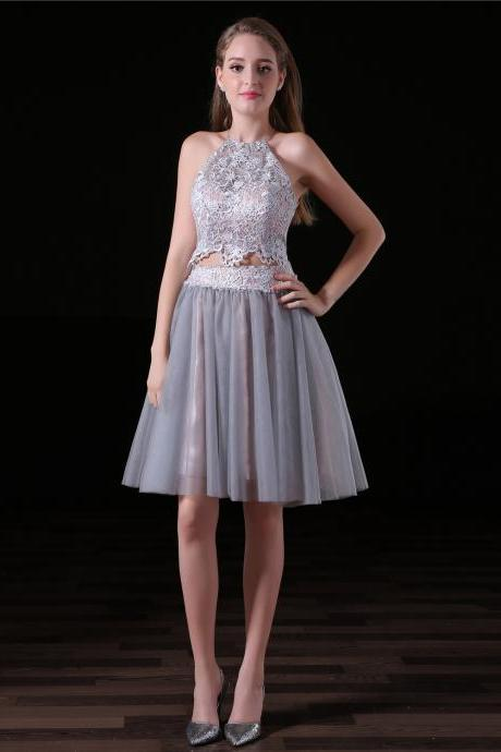 Grey Homecoming Dresses,Two Piece Homecoming Dress,Sexy Backless Short Dress