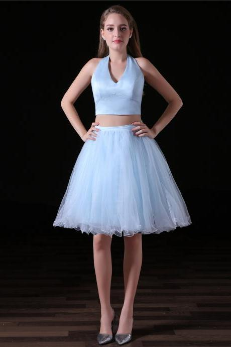 Two Piece Light Blue Homecoming Dresses With Satin Halter Neckline And Organza Ruffle Skirt