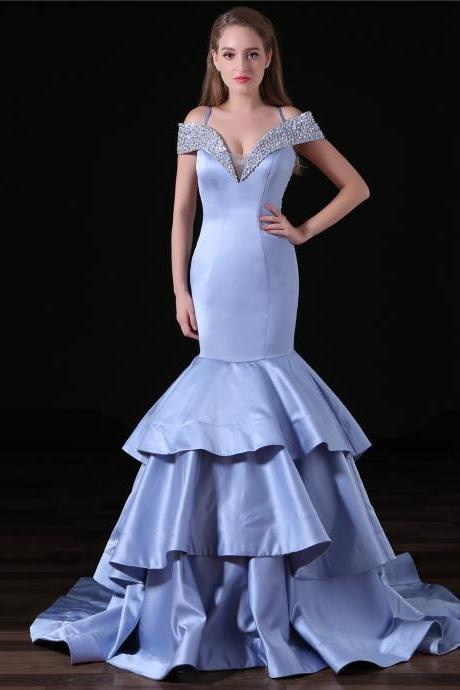 Charming Long Mermaid Prom Dresses Featuring Beaded V Neck And See Through Back, Long Elegant Mermaid Evening Formal Gowns