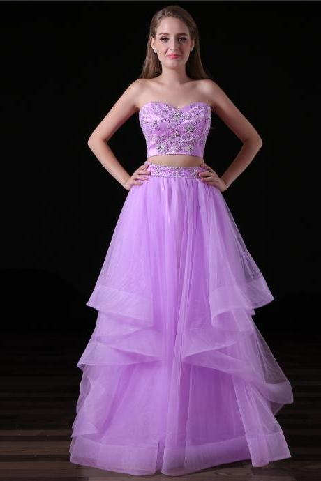 Sexy Long Two Piece Prom Dresses Featuring Lace Applique Sweetheart Neckline, Long A Line Tulle Evening Gowns
