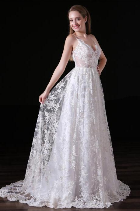 2018 Vintage Lace A Line Wedding Dresses With Spaghetti Straps And Open Back
