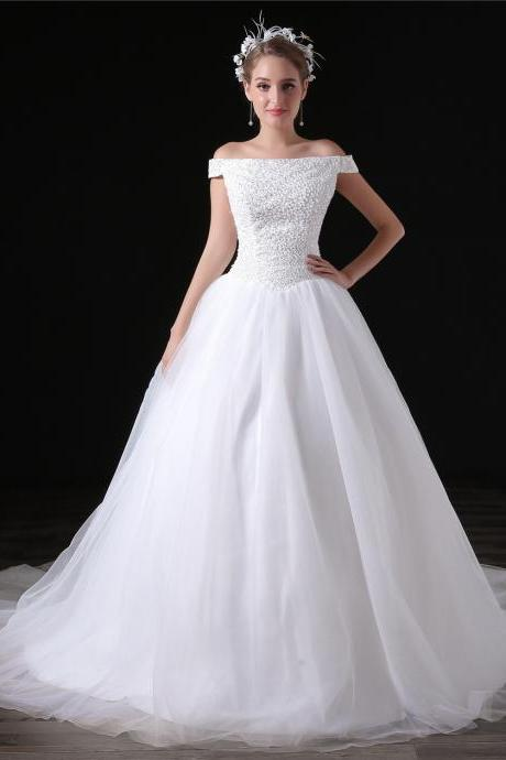 Vintage Tulle Beaded Bodice Wedding Dresses Chapel Train Boat Neck Long Bridal Dresses