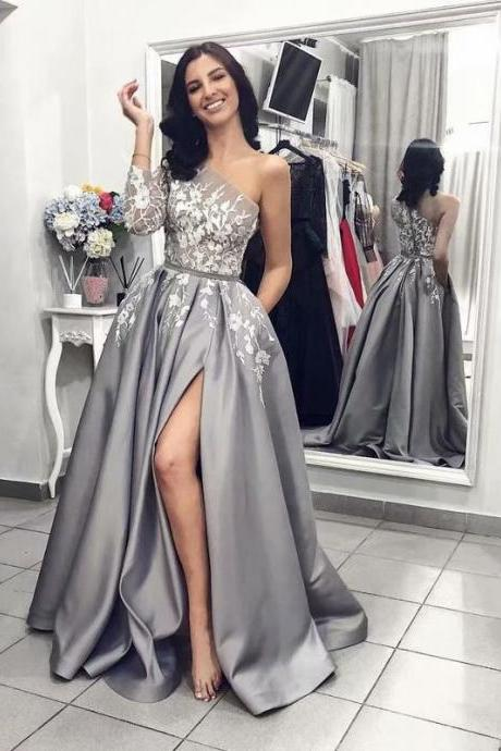 Grey One Sleeve Prom Dresses 2019 New Satin Side Split Appliques Princess A Line Evening Formal Gowns