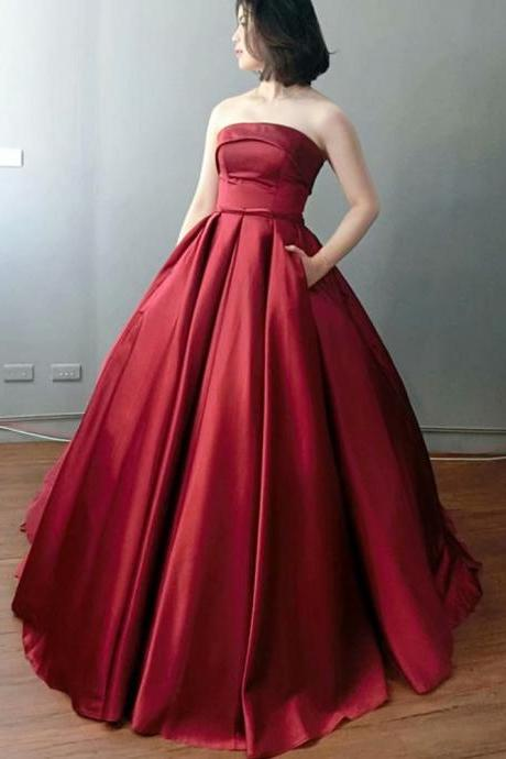 Simple Burgundy Prom Dresses 2019 Strapless Formal Party Gown Ball Gown Vintage Evening Dress