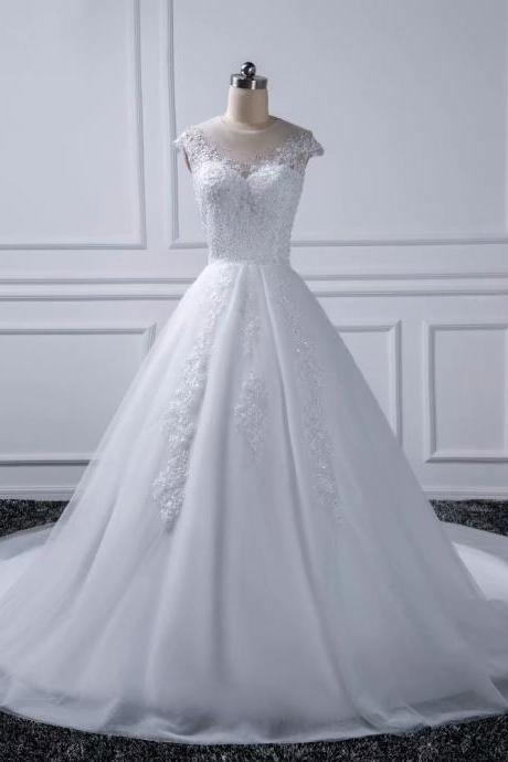 2019 Sheer Neck Wedding Dresses O Neck Bridal Dress Sexy Tulle Wedding Gowns
