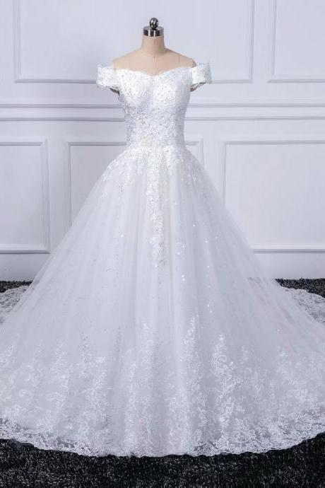 New Off-Shoulder Wedding Dresses Lace Applique Cheapl Train Bridal Dress Wedding Gowns