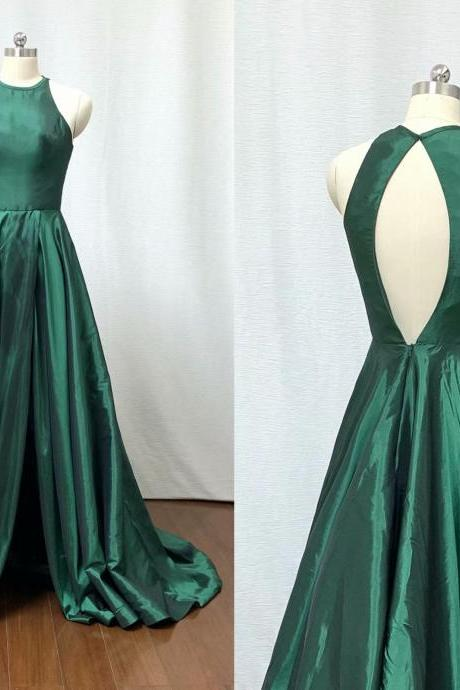 2019 New Arrival Dark Green Backless Evening Dresses A Line Chapel Train Prom Gowns