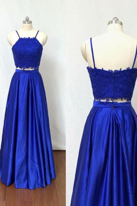 2019 Sexy Royal Blue 2 Piece Prom Dress Evening Dresses A Line Applique Prom Gowns