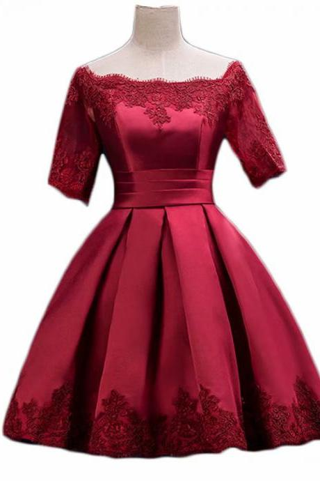 Ball Gown Burgundy Satin Short Sleeve Short Homecoming Prom Dress Evening Cocktail Gown Bridesmaid Formal Dresses