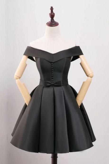 New Arrival Black Homecoming Dresses V Neck Evening Cocktail Gown With Button Mini Bridesmaid Formal Dresses