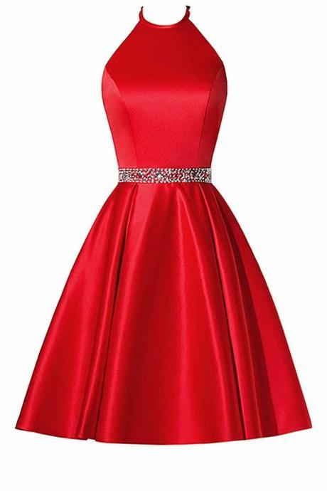 Fashion Red Short Homecoming Dress Halter Neck Beading Evening Cocktail Gown Bridesmaid Formal Dresses