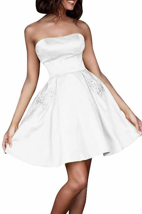 2019 White Short Homecoming Dresses Prom Party Evening Cocktail Gown Bridesmaid Formal Dresses