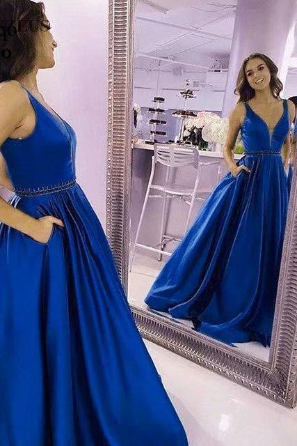 Fashion Cocktail Bridesmaid Prom Dress Beaded Deep V Neck Long Women Formal Party Evening Dress