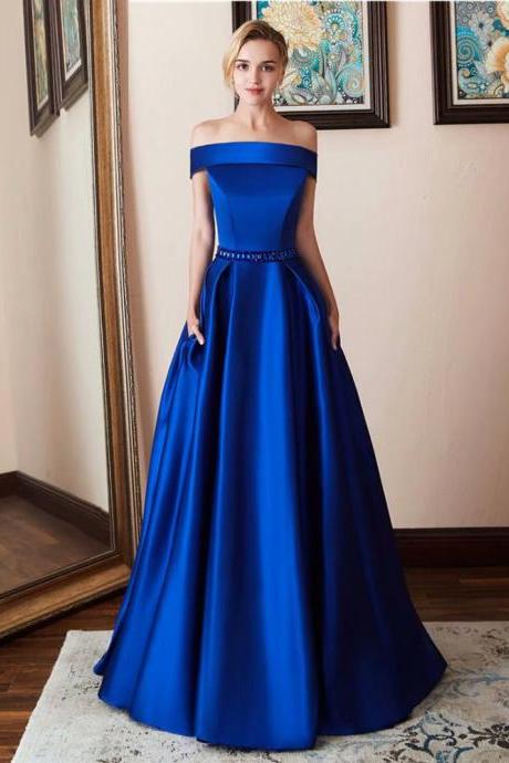 Cheap Royal Blue Prom Dress Beaded Boat Neck Long Women Party Formal Dress