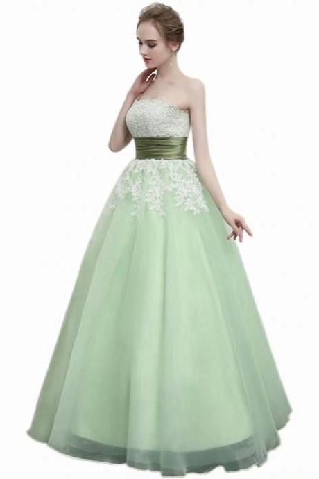 New Arrival Light Green Prom Dress Lace Applique Strapless Long Women Party Dress Evening Gowns