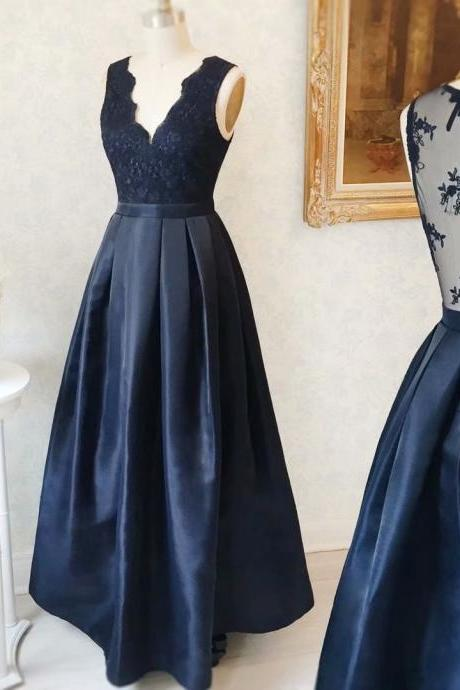 2019 Floor Length Navy Blue Satin Formal Dresses Featuring Lace Bodice With Deep V Neckline -- Long Elegant Prom Dresses, Sexy Evening Gowns