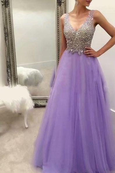 Long Wedding Party Dresses Lavender Tulle Formal Dresses Featuring Rhinestone Beaded Bodice With V Neckline -- Long Elegant Prom Dresses, Sexy Evening Gowns