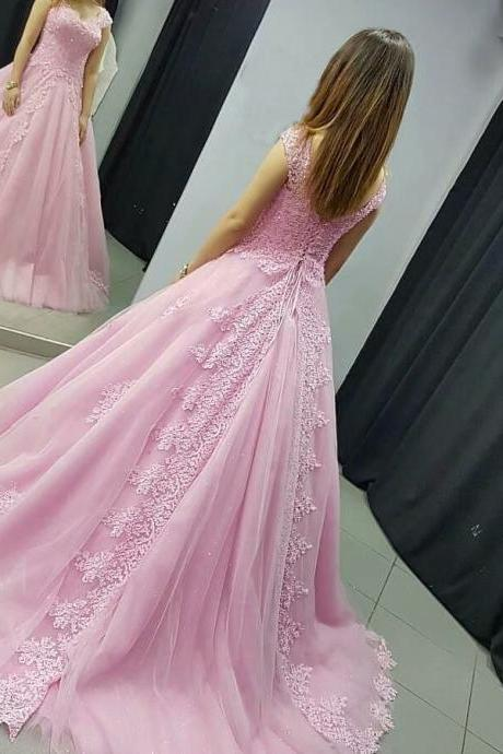 Long Pink Bridesmaid Dress Lace Applique Formal Dresses Featuring Lace Bodice With V Neckline -- Long Elegant Prom Dresses, Sexy Evening Gowns