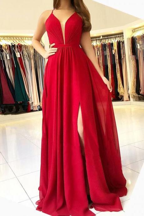 Floor Length Red Prom Gowns Chiffon Formal Dresses With Deep V Neckline And Side Split-- Long Elegant Prom Dresses, Sexy Evening Gowns