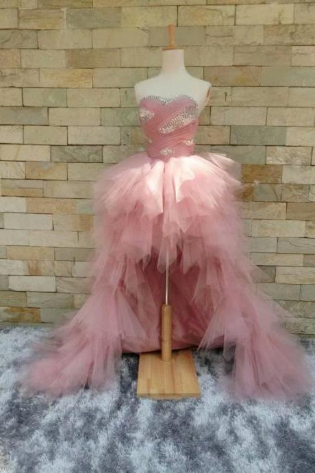 Luxury Wedding Party Dress Pink Formal Dresses Featuring Rhinestone Beaded Bodice With Sweetheart Neckline -- High Low Prom Dresses, Sexy Evening Gowns