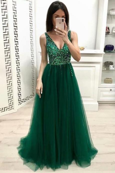 Long Party Dresses 2019 Women Dark Green Tulle Formal Dresses Featuring Rhinestone Beaded Bodice With Deep V Neckline -- Long Elegant Prom Dresses, Sexy Evening Gowns
