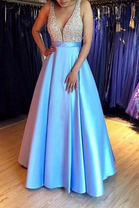 2019 Beaded Light Blue Beading A-line Prom Dresses,Cheap Prom Dress,Prom Dresses For Teens,Satin Evening Dresses