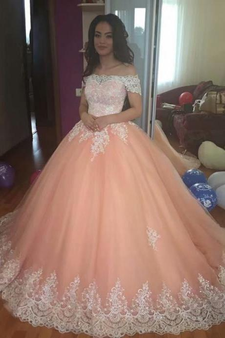 New Coral Lace Applique Ball Gown Prom Dresses,Cheap Prom Dress,Prom Dresses For Teens,Off The Shoulder Tulle Evening Dresses