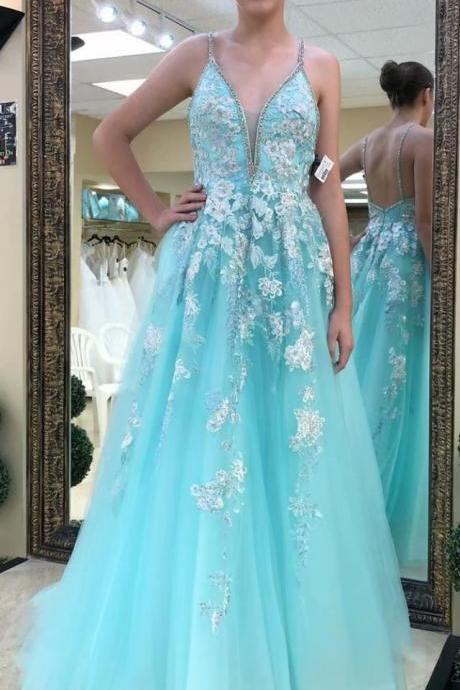 Light Blue V Neck A-line Prom Dresses,Cheap Prom Dress,Prom Dresses For Teens,Applique Tulle Evening Dresses