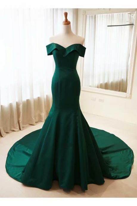 Dark Green Formal Gowns Mermaid Prom Dresses,Cheap Prom Dress,Prom Dresses For Teens,Satin Off Shoulder Chapel Train Evening Dresses