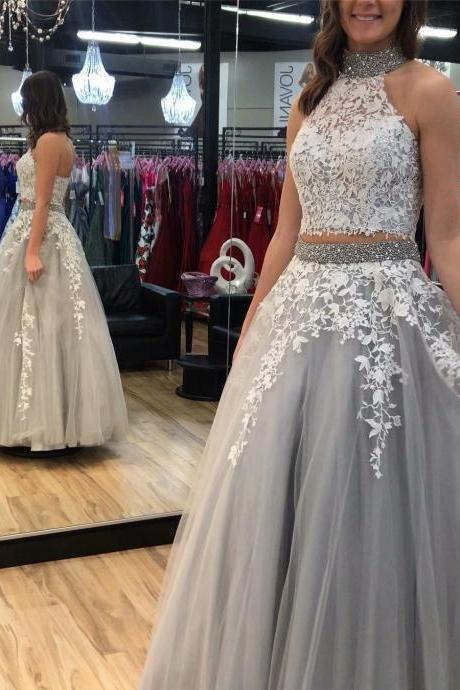 Grey Prom Gowns Two Piece A-line Prom Dresses,Cheap Prom Dress,Prom Dresses For Teens,Tulle Applique Halter Evening Dresses