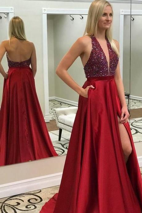Beaded Wedding Party Dress Burgundy Deep V Neck A-line Prom Dresses,Cheap Prom Dress,Prom Dresses For Teens,Halter Neckline Satin Evening Dresses