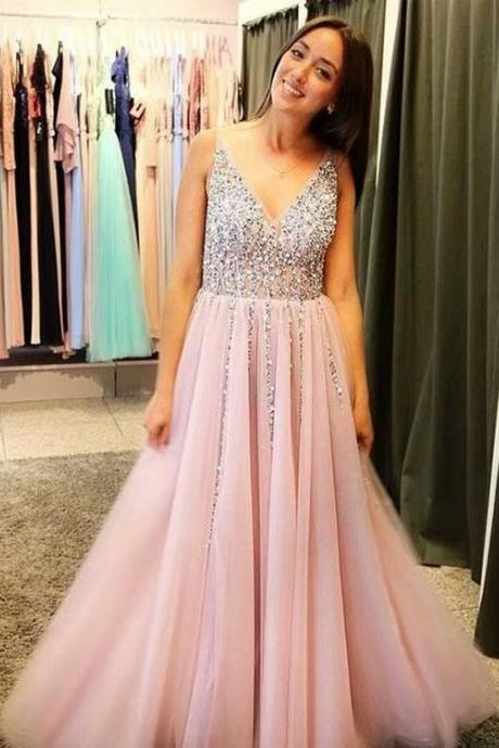 Beaded Pink Beading A-line V Neck Prom Dresses,Cheap Prom Dress,Prom Dresses For Teens,New Arrival Tulle Evening Dresses