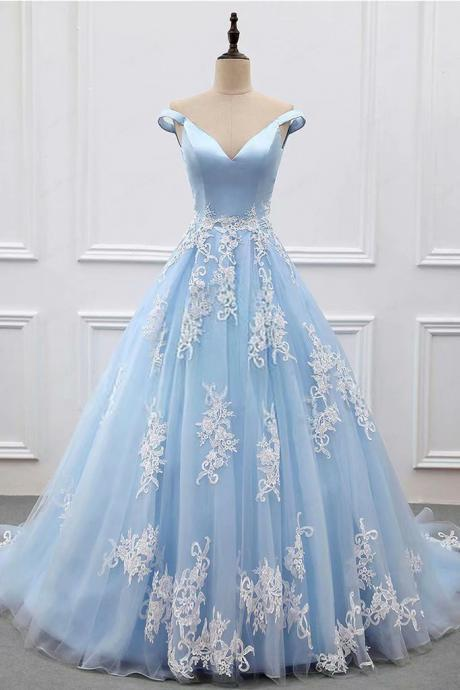 Light Blue Women Ball Gown Prom Dresses,Cheap Prom Dress,Prom Dresses For Teens,Tulle Lace Applique Off-Shoulder Evening Dresses