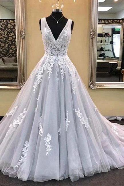 Grey Ball Gown V Neck Prom Dresses,Cheap Prom Dress,Prom Dresses For Teens,2019 Tulle Lace Applique Evening Dresses