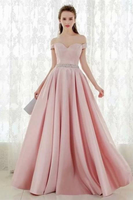 Pink Party Dress Off Shoulder A-line Prom Dresses,Cheap Prom Dress,Prom Dresses For Teens,Satin Evening Dresses